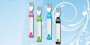 Hapifork This electronic fork helps you monitor and track your eating habits by measuring how long it takes you to eat your meal. Theoretically it can help you eat slower, eat lesser and possibly digest better! USD 100*. hapilabs.com