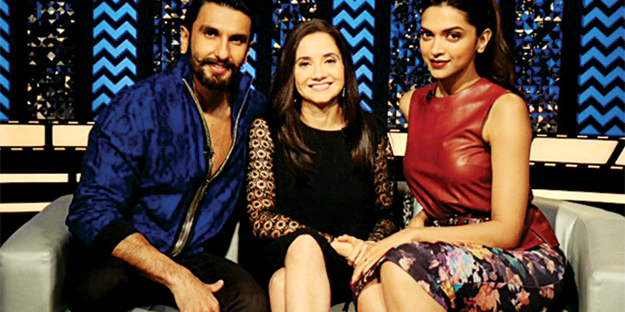 Ranvir Singh and Deepika Padukone with Anupama Chopra (centre) on the sets of 'The Front Row'.