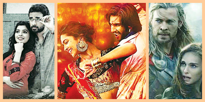 Stills (from left); 'Pizza-2 The Villa', 'Goliyon ki Rasleela Ram Leela' and 'Thor: The Dark World'
