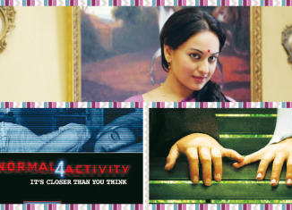(clockwise from top) Sonakshi Sinha in 'Lootera', poster of the film 'Little Manhattan' and the poster of the film 'Paranormal Activity 4'.