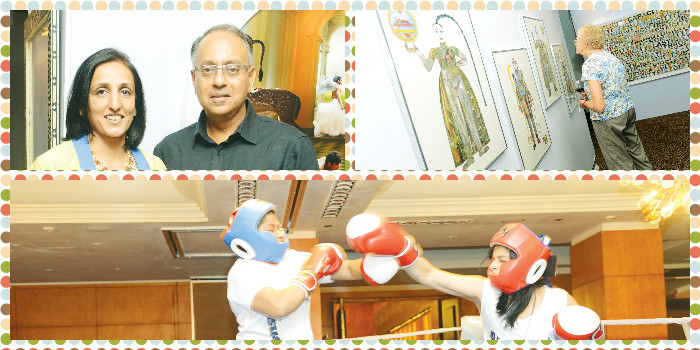 (Clockwise from top) At the Sakshi Show, and (below) Fight night at the Taj Club House.