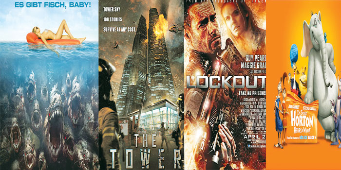 From left, 'Piranha 3D', 'The Tower', 'Lockout' & 'Horton hears a who!'