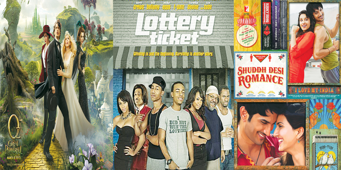 Posters of (from left to right), 'Oz the great and powerful', 'Lottery Ticket' and 'Shuddh Desi Romance'.