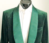 Bottle green velvet with satin covered lapels