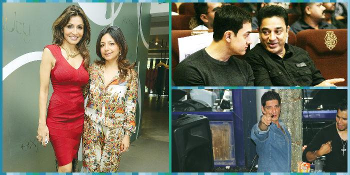 (From left) Queenie Dhody and Tina Malhotra, Aamir Khan and Kamal Haasan and Dj Aqeel