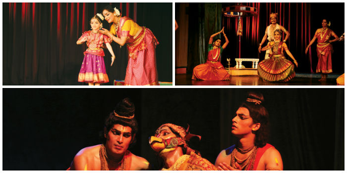 (Clockwise from top) Performances by Meenkashi Vijayan and 'Sabari Moksham', a dance-drama
