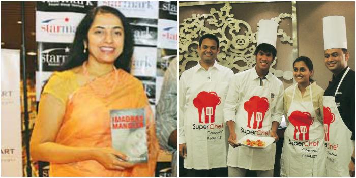 Suhasini Maniratnam (left) and Devvarman and chef Rajesh with participants