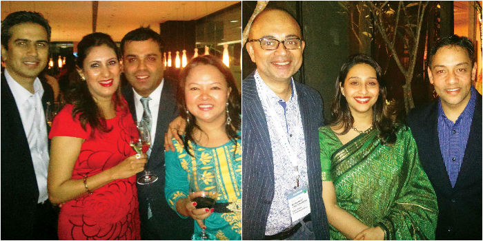 (From left) Puneet & Jyotika Dhawan, Rahul Uppal & Ema Trinidad; Sajai Singh, Farheen Singh & Arjun Pandalai