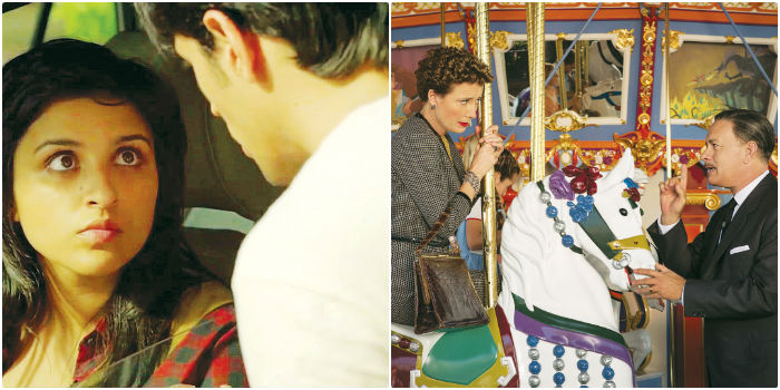 Stills from 'Hasee Toh Phasee' and 'Saving Mr. Banks'.