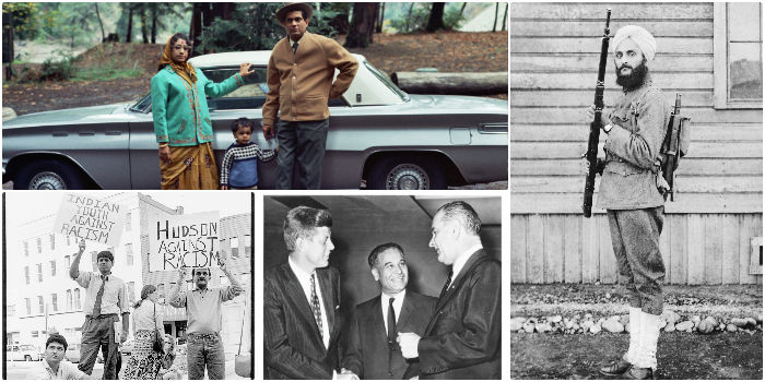 (Clockwise from top) Pandit Shankar Ghosh and family at Samuel P Taylor State Park; (right) US Army combat veteran; (bottom left) Indian Youth Against Racism and Congressman Dalip Singh Saund with John F Kennedy