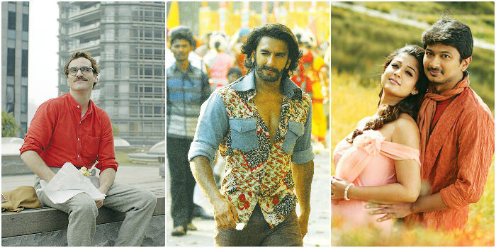 (From left) stills from 'Her', 'Gunday' and 'Ithu Kathirvelan Kadhal'.