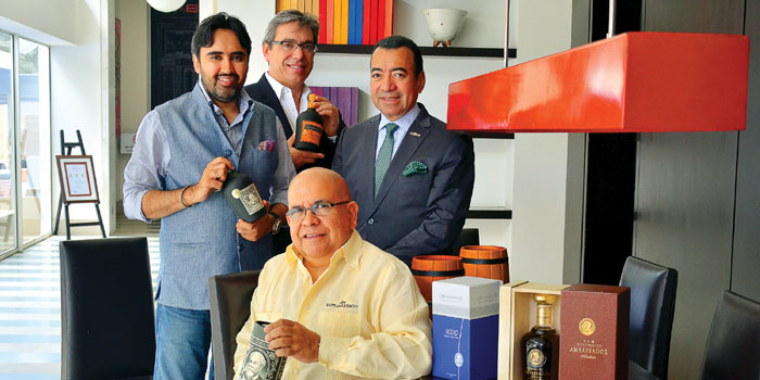 Sitting: Tito Cordero, Master Distiller, Standing: L-R: Vikram Dhall, exclusive importer for Diplomatico in India, Patrick Rabion, export director, Jose Ballestros, president, Diplomatico Rums