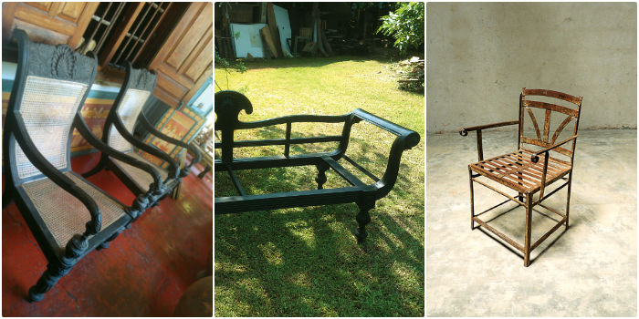 From left, Ebony chairs from Sri Lanka, An ebody chair ready for caning at a Sri Lankan antique shop (middle), Metal garden chair from Pondicherry (right)