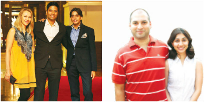 From left, Inga & AirAsia India CEO Mittu Chandilya with V Prakash at ITC Grand Chola, (right) Abhimanyu Prakash & Ishani Appaya