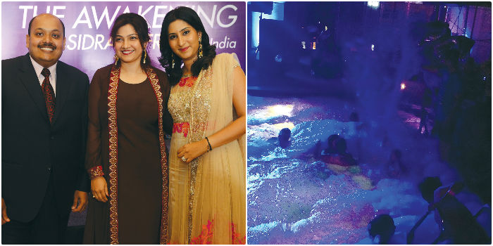 From left, The foam party at The Park &Surendran J, Sidra Jafri, Puja Gupta