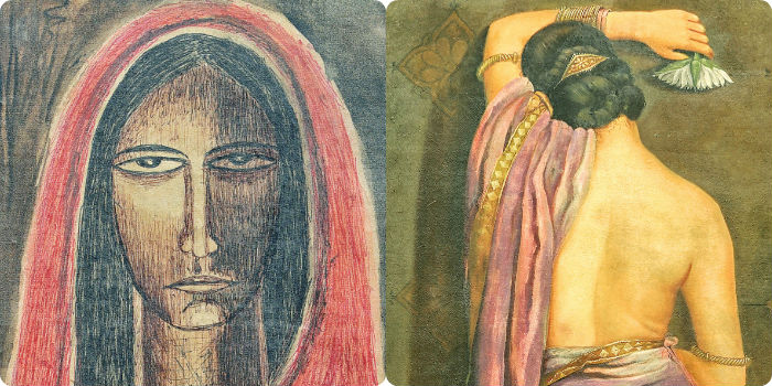 From left Rabindranath Tagore – Untitled (Lot 24) Hemendranath Mazumder, Aviman (Lot 26)