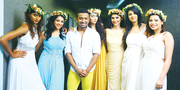 Karun Raman with the models of A Mid Summer Night's Dream