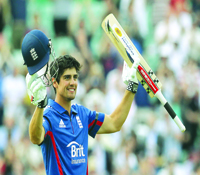 Alastair Cook of England celebrates afte