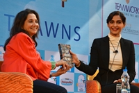 Jaipur: Actress Sonam Kapoor with author Anupama Chopra at the Jaipur Literature Festival in Jaipur, on Jan 23, 2015. (Photo: Ravi Shankar Vyas/IANS)