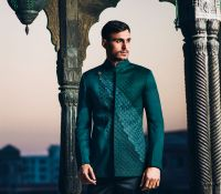 SS HOMME Emerald Bandhgala Suit