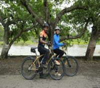 Sumeet Paringe and Prisiliya Madan on Bamboo bicycle_