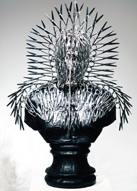 'Lonely King' (stainless steel surgical scissors, leather) by Mahbubur Rahman